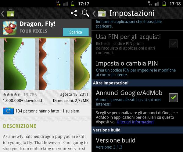 Aggiornamento per il nuovo Android Market: versione 3.1.3