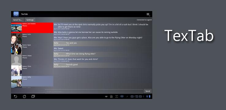 TexTab 1.1.2 : inviare e ricevere SMS con i tablet Honeycomb