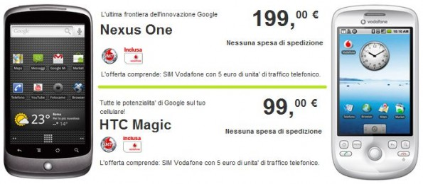 Vodafone : ritornano HTC Magic e Nexus One in offerta