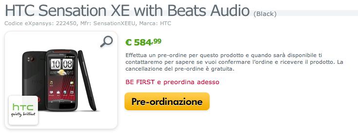 HTC Sensation XE in pre-ordine su Expansys