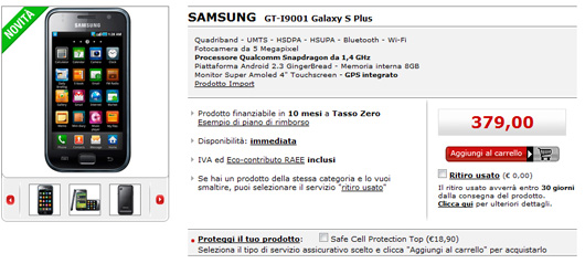 Samsung Galaxy S Plus disponibile in Italia