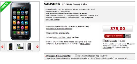 Samsung Galaxy S Plus disponibile in Italia