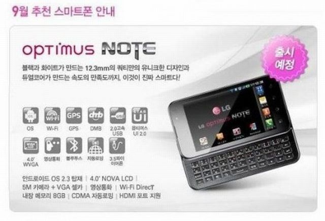 LG Optimus Note: processore Tegra 2 e tastiera QWERTY