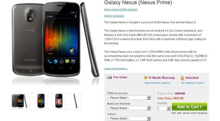 Galaxy Nexus : scatta il pre-order anche su Mobicity