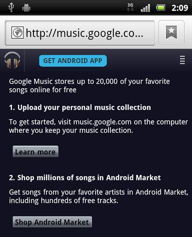 Google Music : MP3 sull'Android Market!