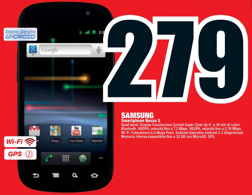 Nexus S a 279€ da Mediaworld