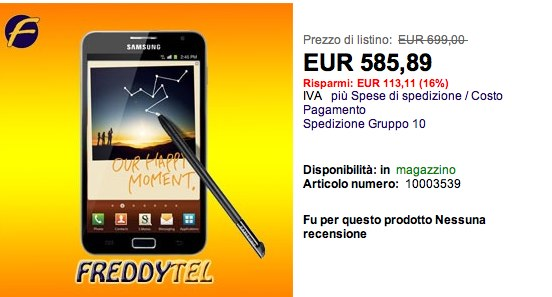 Samsung Galaxy Note : dal 28 disponibile in Italia a un prezzo di...