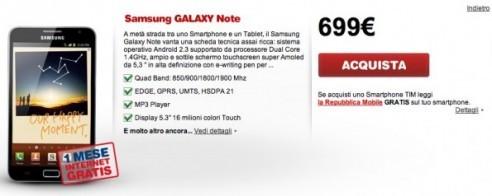 Tim : confermato prezzo del Galaxy Note