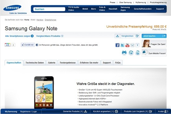 Galaxy Note : ufficializzato il prezzo di lancio