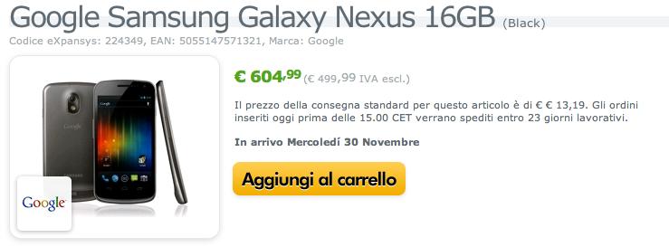 Galaxy Nexus in uscita mondiale il 30 Novembre