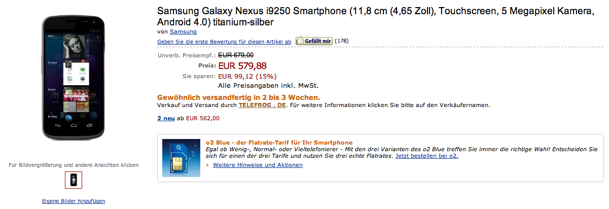 Galaxy Nexus in vendita su Amazon.de a 579,88 euro