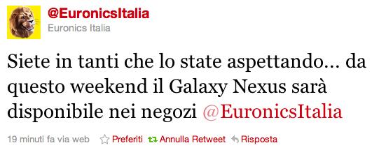 Galaxy Nexus - Disponibilità da Euronics [AGGIORNAMENTO 5/12 - Arrivato nei magazzini]