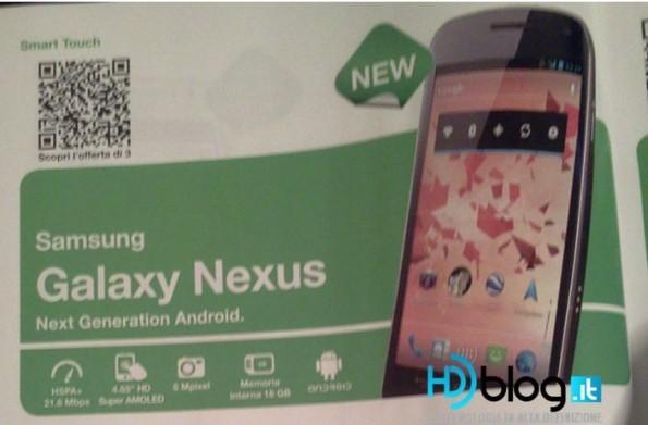 Il Samsung Galaxy Nexus arriverà con 3 entro la fine del mese