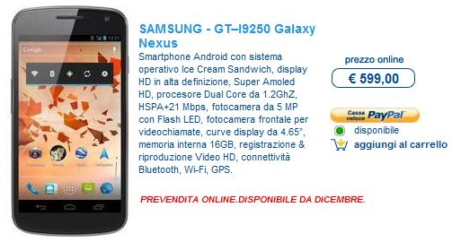 Euronics ha il Galaxy Nexus in pre ordine