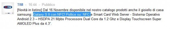 Tim : Galaxy S2 con chip NFC ?