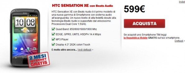 HTC Sensation XE con TIM a 599€