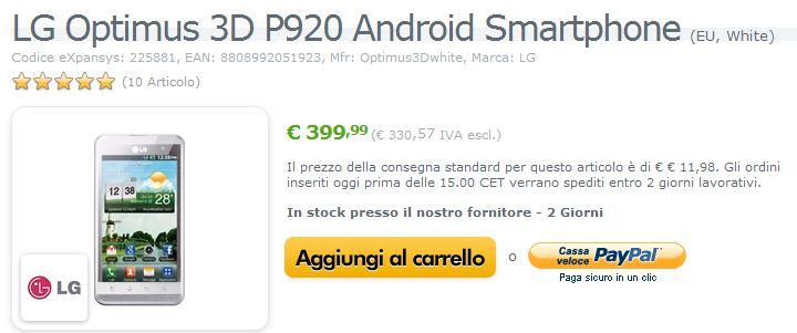 LG Optimus 3D in offerta a 399€ anche in versione WHITE!