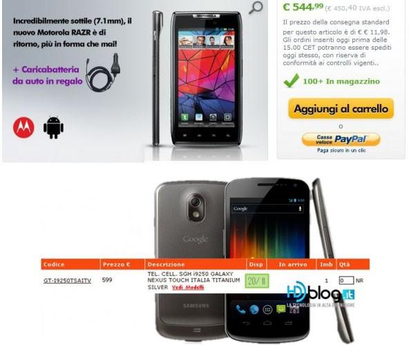Samsung Galaxy Nexus GT-i9250T e Motorola Droid RAZR : ci siamo...