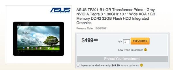 Asus Transformer Prime, forse sarà in commercio dall'8 dicembre