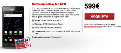 Samsung Galaxy S II i9100p entra nel listino TIM