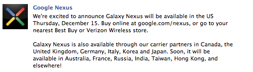 Galaxy Nexus, ora disponibile anche negli USA