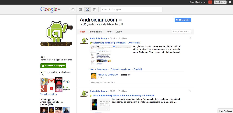 Novità per le pagine di Google+