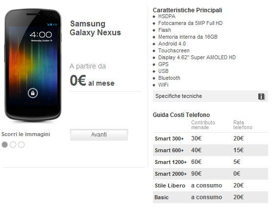 Galaxy Nexus : Vodafone lo propone anche in abbonamento