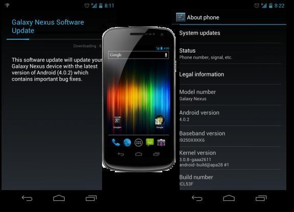 Android 4.0.2 : rilasciata per il Galaxy Nexus