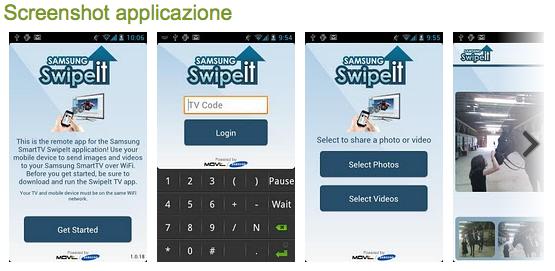 Screenshot della applicazione su Android Market