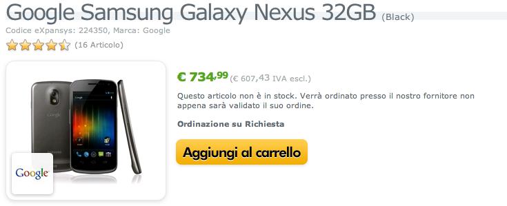 Galaxy Nexus 32GB dal 9 Febbraio in Italia