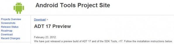 Nuovi aggiornamenti per SDK e ADT su Android