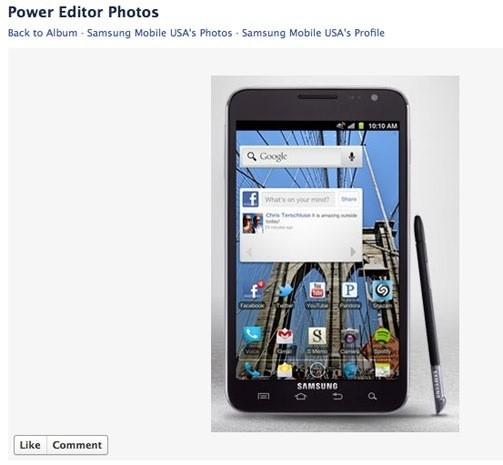 Samsung mostra su facebook un Galaxy Note con ICS