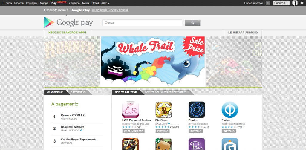 Google Play compare nella barra di Google