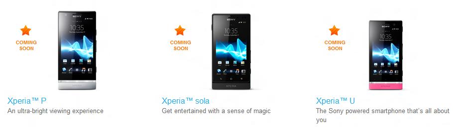 Sony NXT: Xperia U, P e Sola in arrivo!