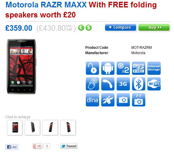 Clove rilascia il prezzo del Motorola RAZR MAXX