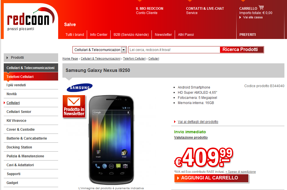 Galaxy Nexus in offerta a 409 euro su Redcoon, anche bianco!