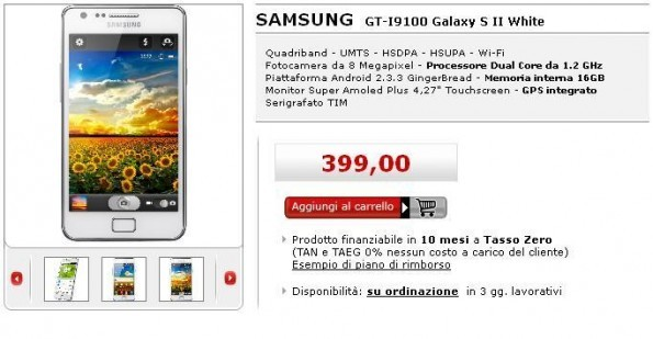 Media World Online ci offre il Samsung Galaxy S II a 399€