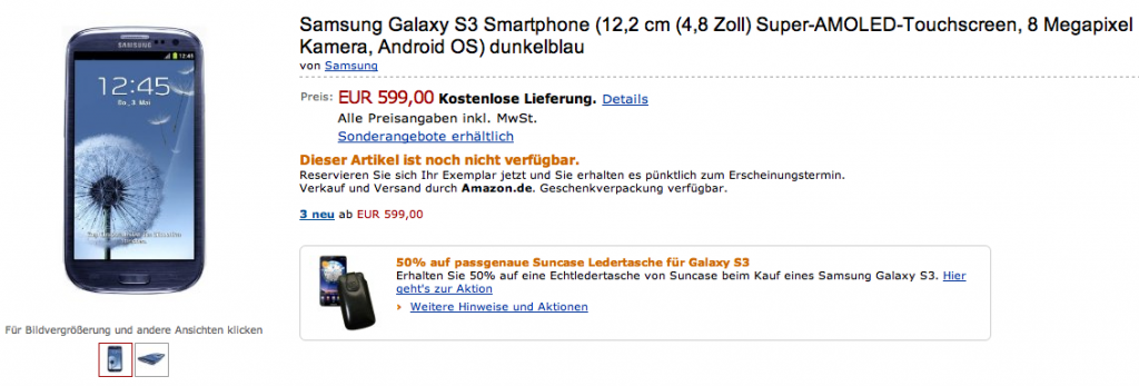 Galaxy S III 16GB in preordine su Amazon.de a 599€ [UPDATE]