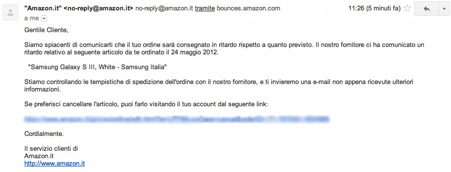 Amazon.it comunica un ritardo nella consegna anche dei Galaxy S III Marble White [UPDATE Amazon.de]