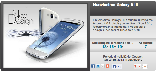 Galaxy S III in offerta a 569 € su Groupalia