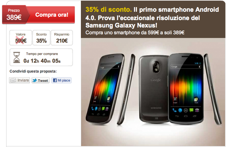 Galaxy Nexus in offerta a 389 € su LetsBonus