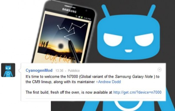 Disponibile la prima Nightly della CyanogenMod9 per il Samsung Galaxy Note