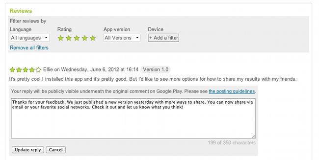 Google Play Store: gli sviluppatori possono ora rispondere ai commenti