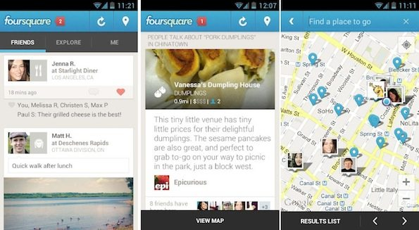 Foursquare: arriva il nuovo aggiornamento sul Play Store di Google