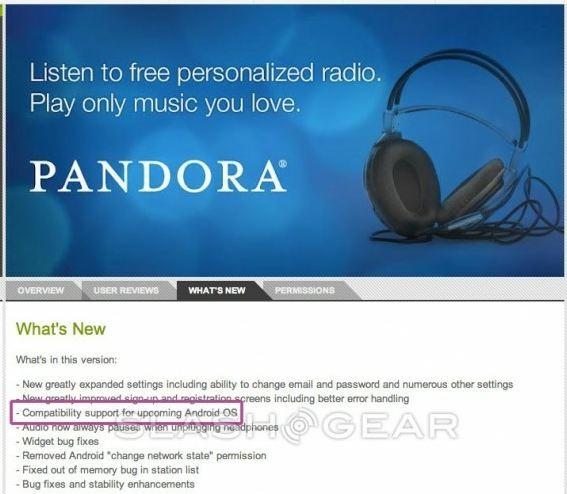 Pandora è la prima applicazione compatibile con Jelly Bean
