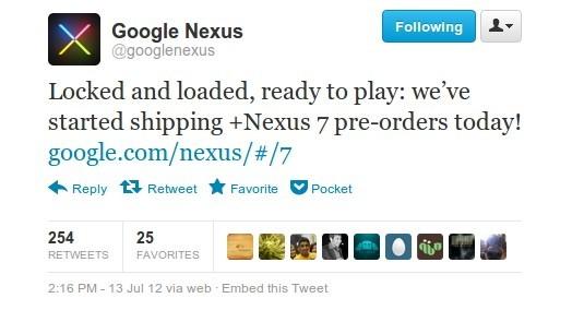 Google ha iniziato a spedire i primi Nexus 7