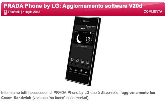 Disponibile l'aggiornamento ad ICS per LG Prada 3.0