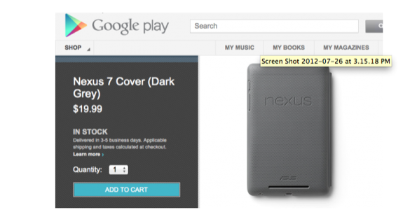 Google Nexus 7, disponibile su Play Store la prima cover ufficiale