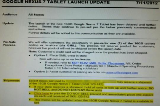 Il Nexus 7 non sarà disponibile da oggi da Office Depot