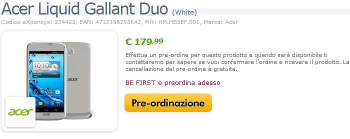 Acer Liquid Gallant Duo: nuovo smartphone dual-SIM con Android 4.0
